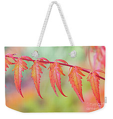 Autumnal Sumac Red Autumn Lace Leaves Weekender Tote Bag