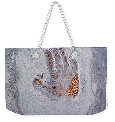 Autumns Child Or Hand In Concrete Weekender Tote Bag by Heather Kirk