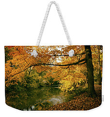 Weekender Tote Bag featuring the photograph Autumn's Golden Tones by Jessica Jenney