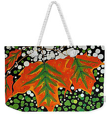 Weekender Tote Bag featuring the painting Autumns Kiss by Kathleen Sartoris