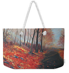 Weekender Tote Bag featuring the painting Autumns Pathway by Leslie Allen