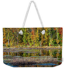 Weekender Tote Bag featuring the photograph Autumns Quiet Moment by Karol Livote