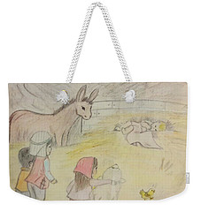 Away In A Manger With Child Shepherds Weekender Tote Bag by Christy Saunders Church