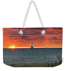 Awesome Sunset With Lighthouse  Weekender Tote Bag