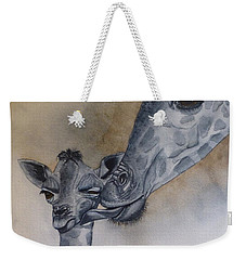 Weekender Tote Bag featuring the painting Baby And Mother Giraffe by Kelly Mills
