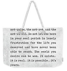 Ayn Rand Quotes - Atlas Shrugged Quotes - Literary Quotes - Book Lover Gifts - Typewriter Quotes Weekender Tote Bag