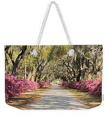 azalea lined road in Spring Weekender Tote Bag