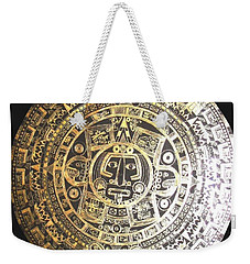 Weekender Tote Bag featuring the drawing Aztec Calendar by Michelle Dallocchio