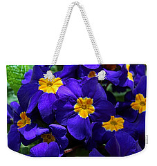 Weekender Tote Bag featuring the photograph Azure Primrose by Michiale Schneider