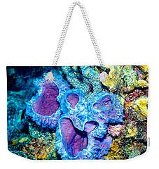 Weekender Tote Bag featuring the photograph Azure Vase Sponges by Perla Copernik