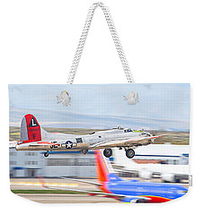 Weekender Tote Bag featuring the photograph B-17 Bomber by Dart and Suze Humeston