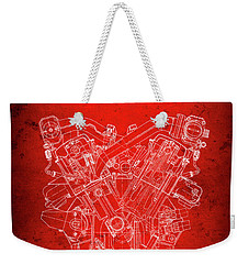 B M W  850csi  E31  V12 Engine Redprint Weekender Tote Bag