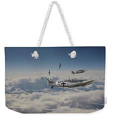 Weekender Tote Bag featuring the digital art B17 - Luftwaffe Battleground by Pat Speirs