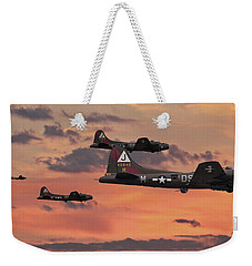 Weekender Tote Bag featuring the digital art B17 - Sunset Home by Pat Speirs