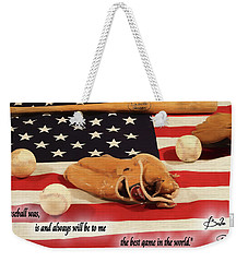 Babe Ruth Baseball Quote Weekender Tote Bag by Dan Sproul