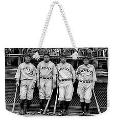 Babe Ruth Lou Gehrig And Joe Dimaggio Weekender Tote Bag