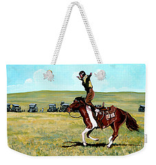 Weekender Tote Bag featuring the painting Babette Rides Again by Tom Roderick