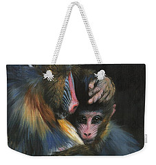 Weekender Tote Bag featuring the painting Baboon Mother And Baby by David Stribbling