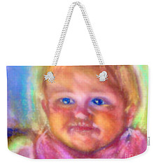 Weekender Tote Bag featuring the photograph Baby Blue Eyes by Shirley Moravec