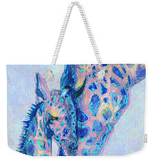 Baby Blue  Giraffes Weekender Tote Bag by Jane Schnetlage