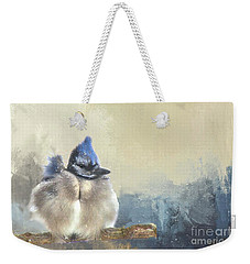 Baby Bluejay In Winter Weekender Tote Bag