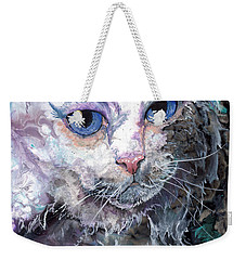 Weekender Tote Bag featuring the painting Baby Blues by Sherry Shipley