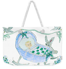 Weekender Tote Bag featuring the painting Baby Boy With Bunny And Birds by Claire Bull