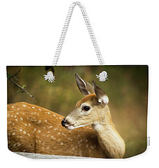 Weekender Tote Bag featuring the photograph Baby Deer by Tyra OBryant