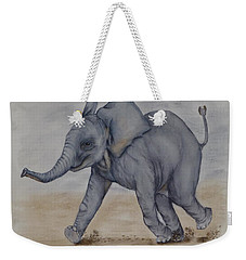 Weekender Tote Bag featuring the painting Baby Elephant Run by Kelly Mills