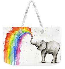 Baby Elephant Spraying Rainbow Weekender Tote Bag