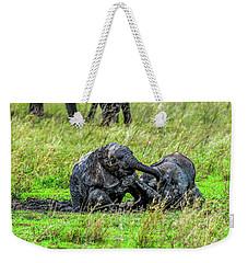 Baby Elephants Rolling In The Mud Weekender Tote Bag