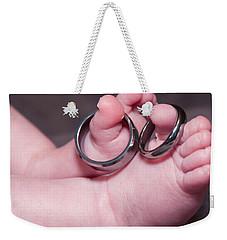 Baby Feet With Wedding Rings Weekender Tote Bag