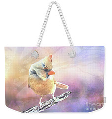 Weekender Tote Bag featuring the photograph Baby Female Cardinal In Springtime by Janette Boyd