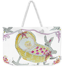 Weekender Tote Bag featuring the painting Baby Girl With Bunny And Birds by Claire Bull