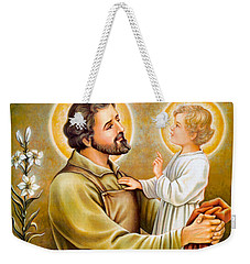 Baby Jesus Talking To Joseph Weekender Tote Bag by Munir Alawi