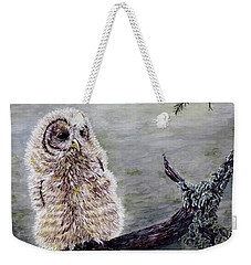 Weekender Tote Bag featuring the painting Baby Owl by Judy Kirouac