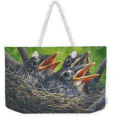 Weekender Tote Bag featuring the painting Baby Robins by Kim Lockman