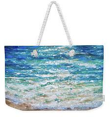 Weekender Tote Bag featuring the painting Baby Turtles First Plunge by Linda Olsen