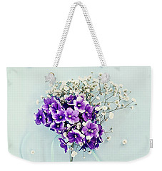 Baby's Breath And Violets Bouquet Weekender Tote Bag