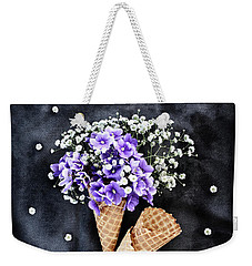 Baby's Breath And Violets Ice Cream Cones Weekender Tote Bag by Stephanie Frey
