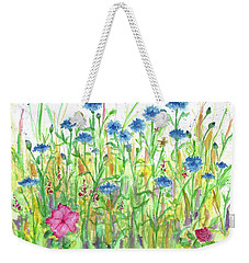 Weekender Tote Bag featuring the painting Bachelor Button Meadow by Cathie Richardson