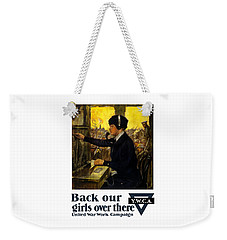 Weekender Tote Bag featuring the painting Back Our Girls Over There by War Is Hell Store