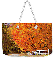 Back Road Autumn Maples Weekender Tote Bag