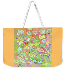 Back To The Garden Leaves, Hearts, Flowers, With Words Weekender Tote Bag