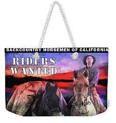 Weekender Tote Bag featuring the digital art Backcountry Horsemen Join Us Poster II by Rhonda Strickland