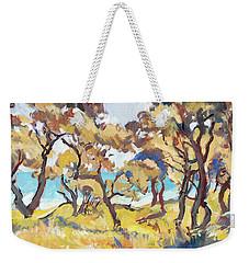 Backlight Olive Trees Marmari Beach Weekender Tote Bag
