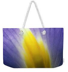 Backlit Iris Flower Petal Close Up Purple And Yellow Weekender Tote Bag
