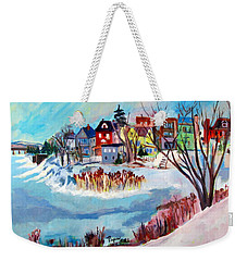 Backside Of Schenectady Stockade In February Weekender Tote Bag