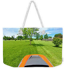 Weekender Tote Bag featuring the photograph Backyard Mowing by Ricky L Jones
