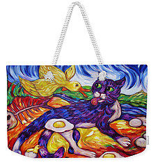 Weekender Tote Bag featuring the painting Bad Kitty Gets Caught Again by Dianne  Connolly